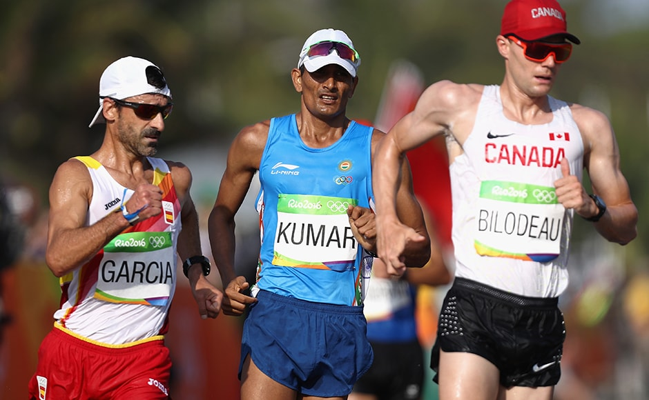Sandeep Kumar finished 35th in the men's 50-km walk, talking four hours, seven minutes and 55 seconds to complete the distance. The 30-year-old was 26.57 minutes behind the leader of the race at the finish line. Getty
