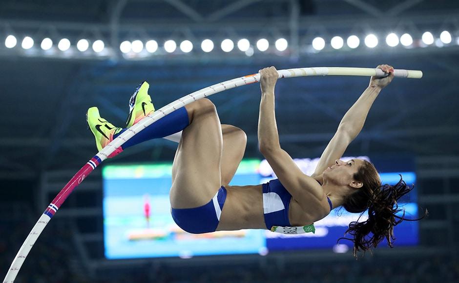Greece's Ekaterini Stefanidi won the women's pole vault on Friday after virus-stricken defending champion Jenn Suhr crashed out. Getty