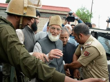 Police arrest Separatist leader and chairman of Hurriyat Conference Syed Ali Shah Geelani after he defied his house arrest and took out a protest march towards Army Headquaters in Badami Bagh to protest against the killing of civilians in Srinagar on Saturday. PTI