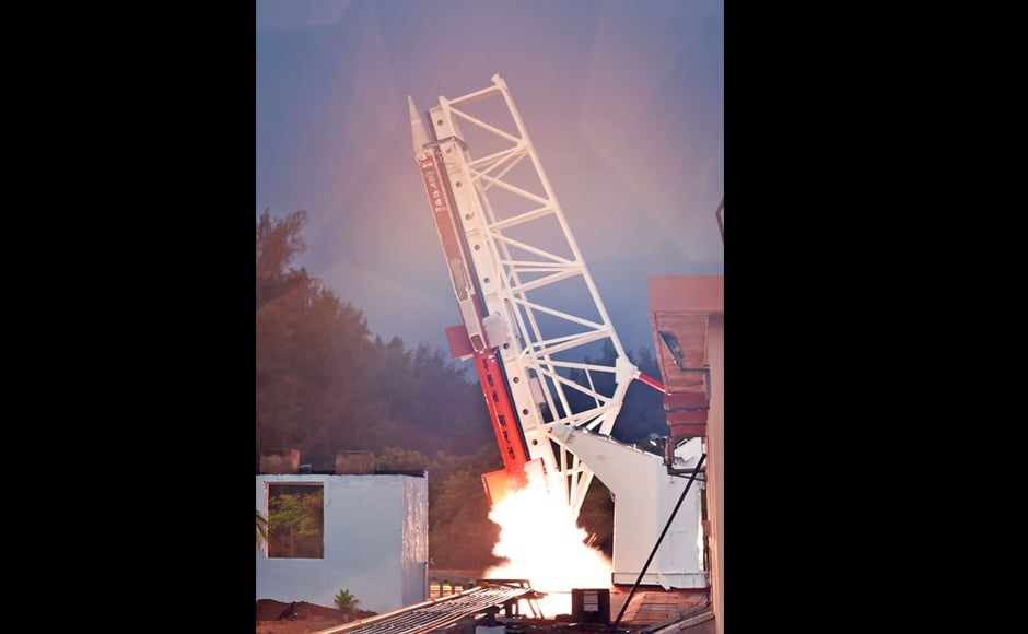 The on-flight test of the two air-breathing engines was conducted successfully with Isro's Advanced Technology Vehicle (ATV), which is an advanced sounding rocket. The rocket weighed 3,277 kg during lift-off. Image courtesy: isro.gov.in