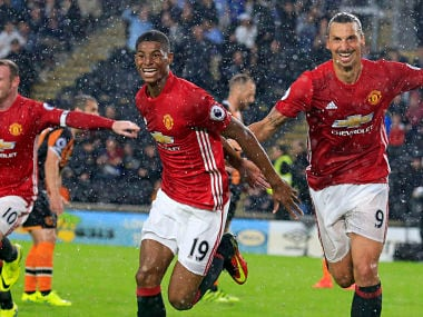 Manchester United's striker Marcus Rashford and Zlatan Ibrahimovic. AFP