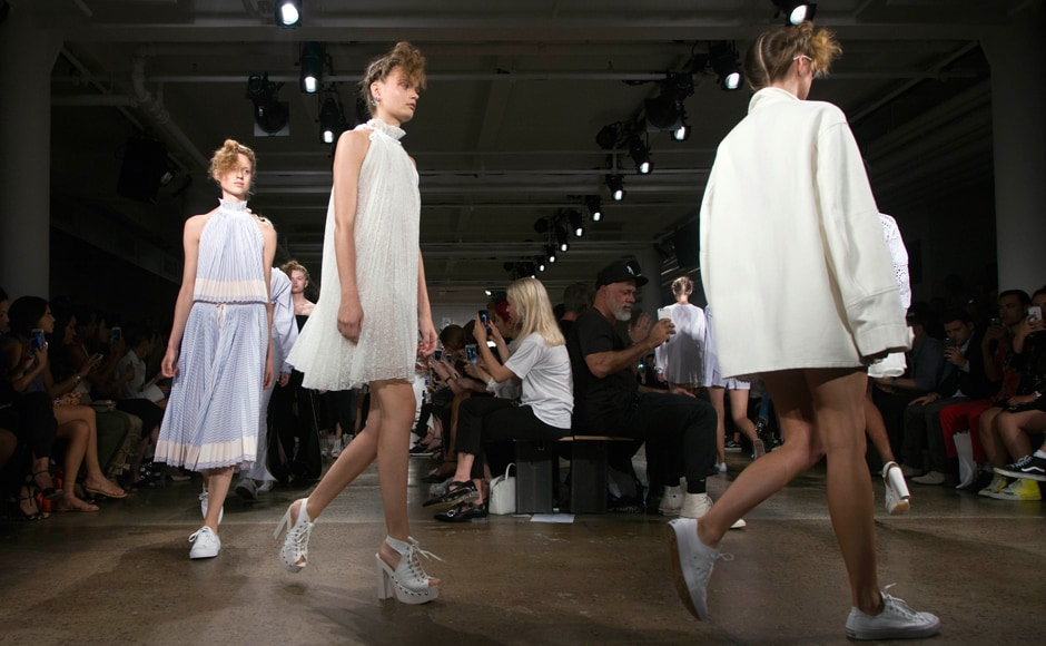 Models walk the runway during the Adam Selman presentation at New York Fashion Week. AFP