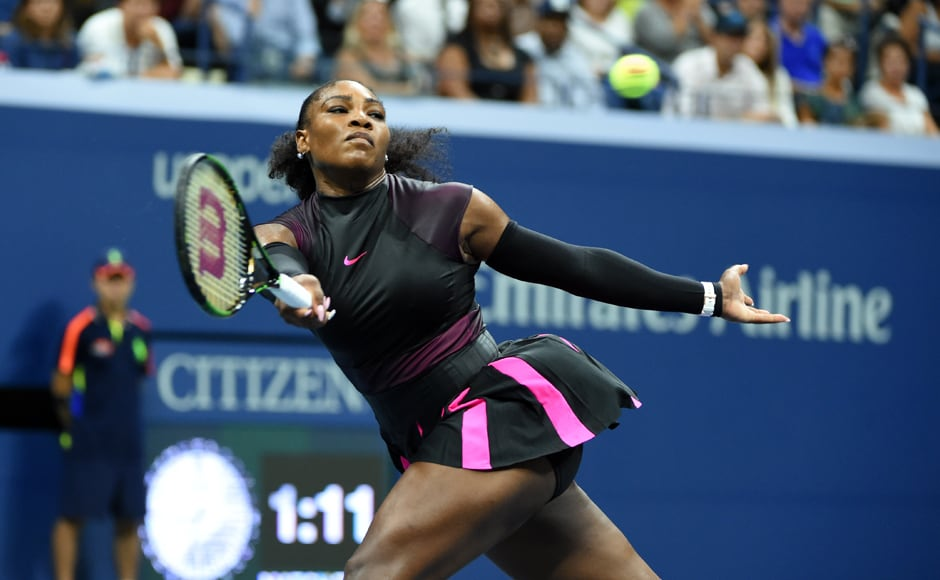 Serena Williams hits a return against Karolina Pliskova. AFP