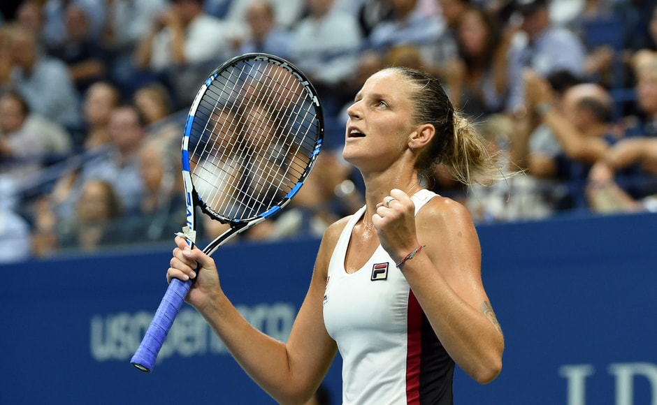 Karolina Pliskova of Czech Republic celebrates after defeating Serena Williams 6-2 ,7-6 (7-5) to clinch a berth in the women's singles final of the US Open. AFP
