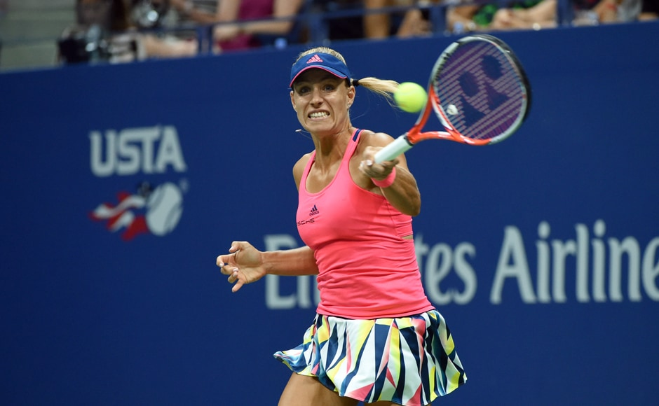 Angelique Kerber of Germany won the first four games en route to a 6-4, 6-3 victory against Caroline Wozniacki to qualify for final. AFP