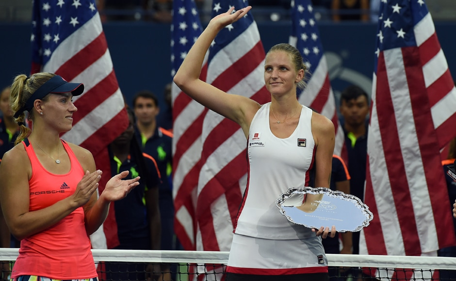 US Open runner-up Karolina Pliskova waves at the crowd after the final. Pliskova, who had never made it past the third round of a Grand Slam in 17 prior attempts, also beat Venus Williams en route to the title match, becoming just the fourth player to beat both Williams sisters in the same Grand Slam. AFP