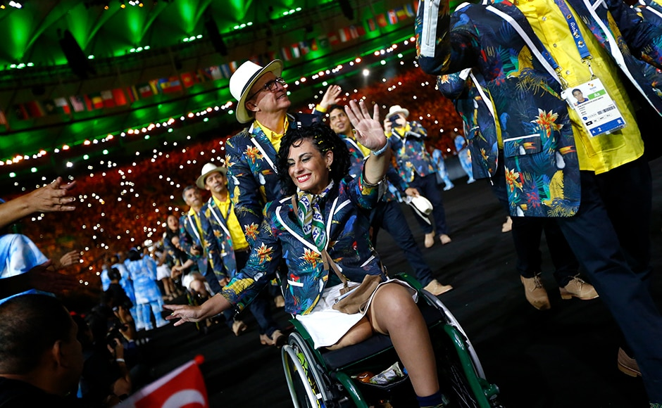 Athletes from Brazil take part in the opening ceremony of Rio Paralympics at Maracana stadium. Reuters