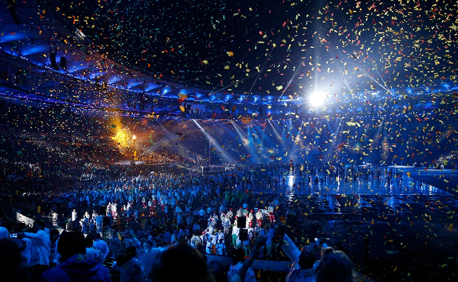 Confetti falls during the opening ceremony of the Rio Paralympics 2016. Reuters
