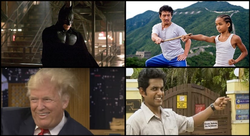 Clockwise: A still from Batman Begins, Karate Kid, The Tonight Show With Jimmy Fallon and The Better Life Foundation.