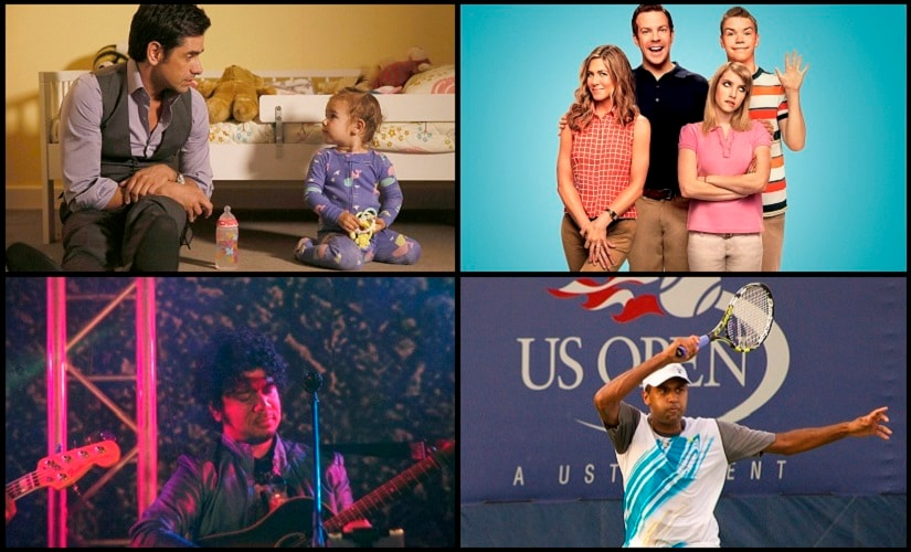 Clockwise: A still from 'Grandfathered', The Millers, Papon's Hometown Heroes and Rajeev Ram in action at the US Open 2016.
