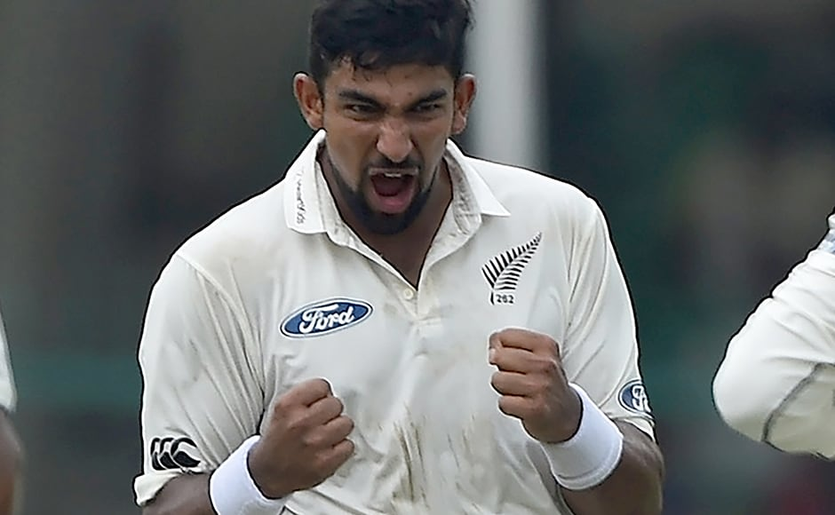 New Zealand's Ish Sodhi celebrates the wicket of Murali Vijay. AFP
