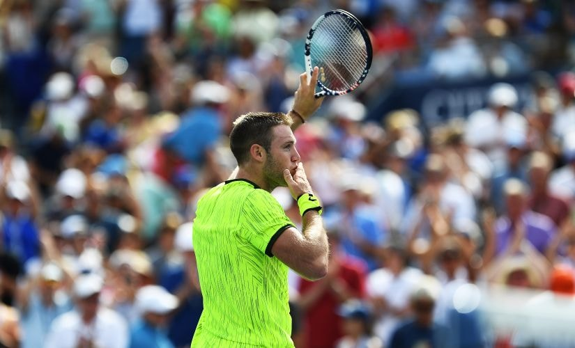 Jack Sock celebrates defeating Marin Cilic at the US Open. AFP