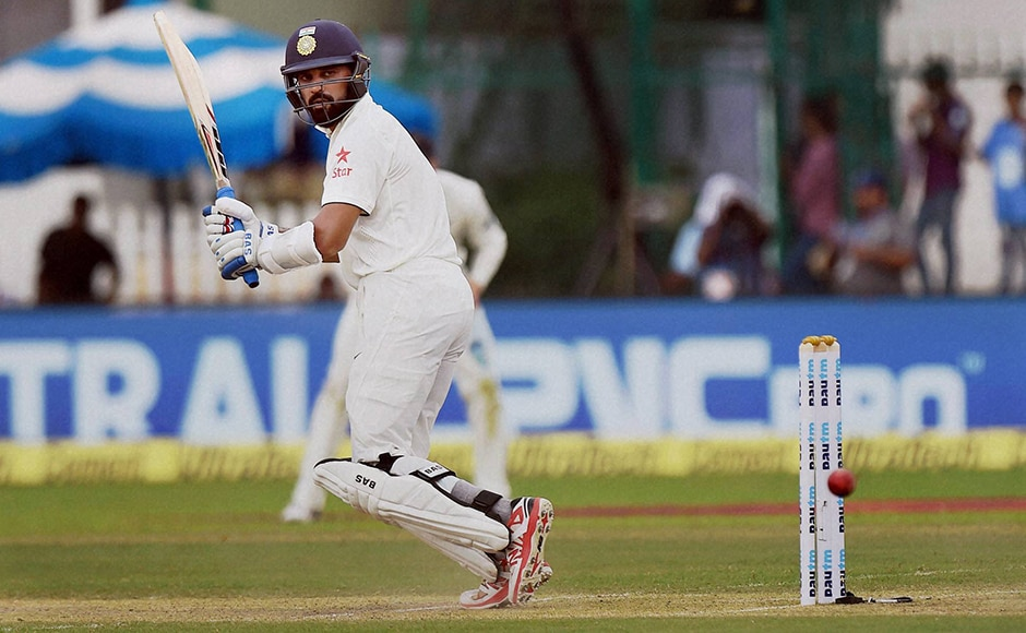 Indian batsman Murali Vijay in action on the opening day of the first Test match. PTI