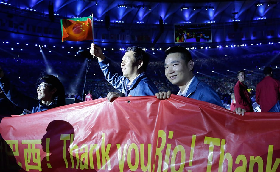 "Paralympics athletes hold a banner that reads ""Thank You Rio"" during the closing ceremony of the Rio 2016 Paralympic Games at Maracana Stadium in Rio de Janeiro, Brazil, Sunday, Sept. 18, 2016. (AP Photo/Leo Correa)"