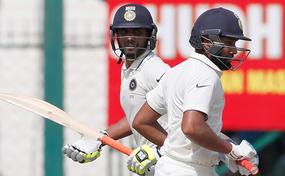 India's Ravindra Jadeja and Rohit Sharma both scored half centuries in their speedy 100 run stand which gave hosts a comfort of 433 runs lead. AP