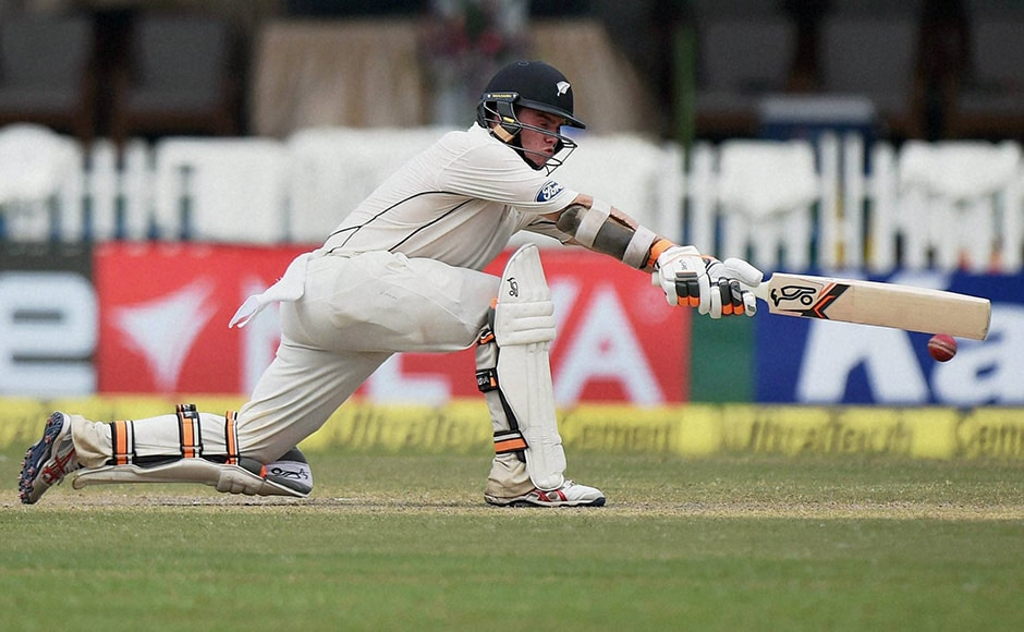 New Zealand's Tom Latham plays a shot on the second day of the first Test match against India at Green Park in Kanpur on Friday. PTI Photo by Atul Yadav (PTI9_23_2016_000081B)