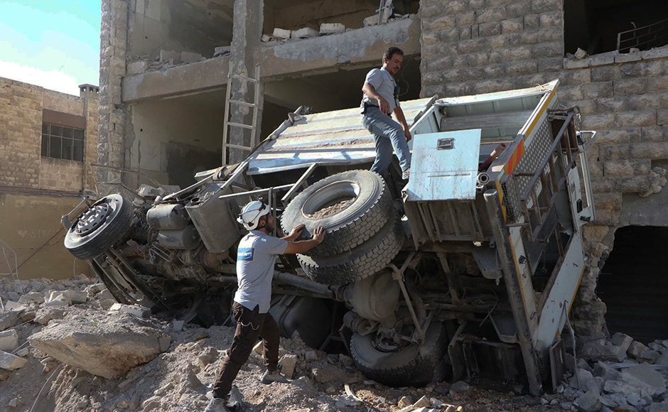 An intense bombing campaign has targeted several neighborhoods in the city, including centers of the award-winning volunteer civil defense group known as the White Helmets. Photo: AP