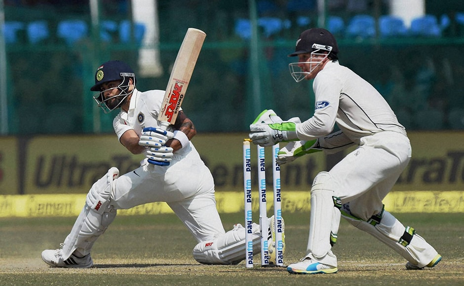 Indian skipper VIrat Kohli got out early after mistiming a sweep off Mark Craig's delivery. He scored 18 runs. PTI