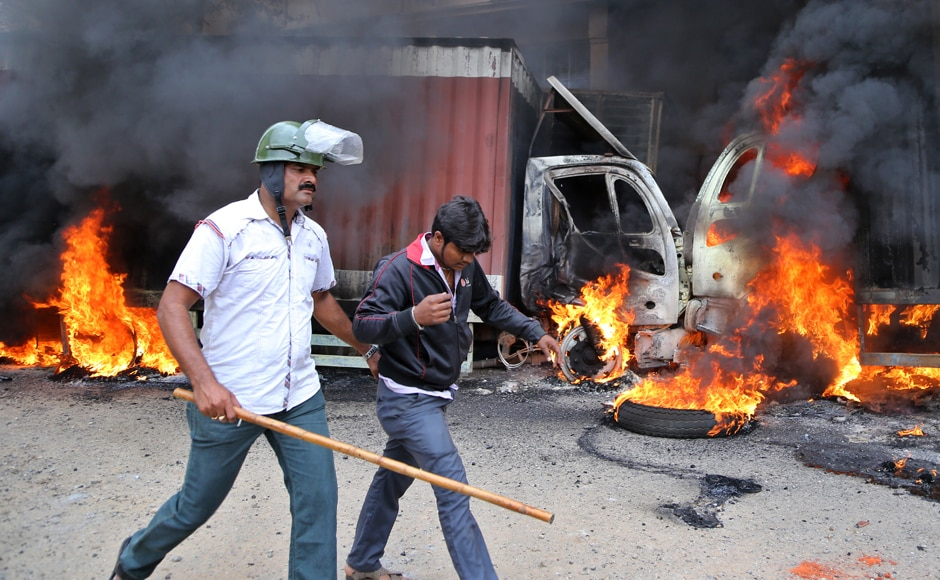 More than 15,000 police officers were deployed all over Bengaluru in wake of the protests. AP