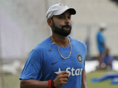 Amit Mishra at the Eden Gardens during the optional practice session ahead of the 2nd Test. AP