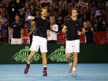 Andy (left) and Jamie Murray celebrate their win over Juan Martin del Potro a nd Leonardo Mayer. AP