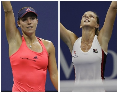 Angelique Kerber (left) enjoys an undefeated record against Karolina Pliskova. AP