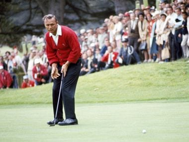 File photo of Arnold Palmer in action during the U.S.Open Golf Championship  in 1966. AP