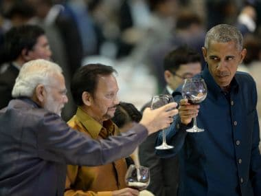 US President Barack Obama toasts with PM Narendra Modi at the gala dinner during the second day of the Asean Summit in Vientiane on Wednesday. AFP