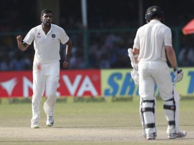 Ravichandran Ashwin celebrates taking a wicket against the Kiwis. AP