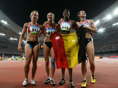 Belgium's 4x100 relay team from 2008 Olympics  (L to R): Hanna Marien, Olivia Borlee, Elodie Ouedraogo and Kim Gevaert. AFP
