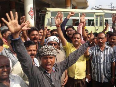 Roadways employees' strike in Uttar Pradesh's Varanasi. Image courtesy: @ANI_news