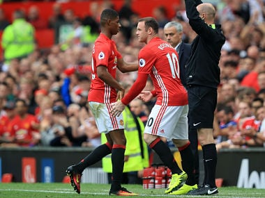 Manchester United's Wayne Rooney replaces Marcus Rashford during the Premier League match against Leicester City. AP