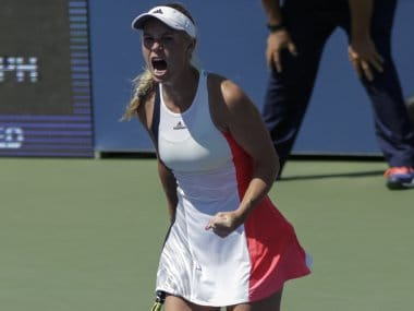 Caroline Wozniacki reacts after her second round win at the US Open. AFP