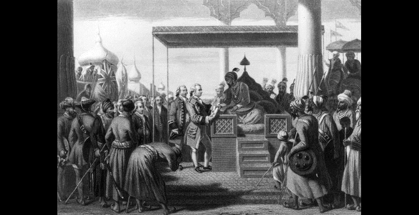 Robert Clive (1725 - 1774), British governor of India receives from Shah Alam, the Mughal Emperor of India, a decree conferring upon the East India Company the administration of the revenues of Bengal, Behar and Orissa. (Photo by Hulton Archive/Getty Images)