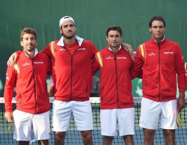 Spain's Davis Cup team (L to R) Marc Lopez, Feliciano Lopez, David Ferree and Rafael Nadal. PTI