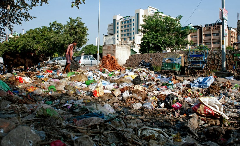 Garbage dumped from adjoining localities has been lying for weeks by the roadside at Hasanpur in Patparganj. The spot is hardly 50 meter from Max Super Speciality Hospital, and State Bank of Travancore branch in Patparganj. (Photos: Debobrat Ghose and Naresh Sharma)