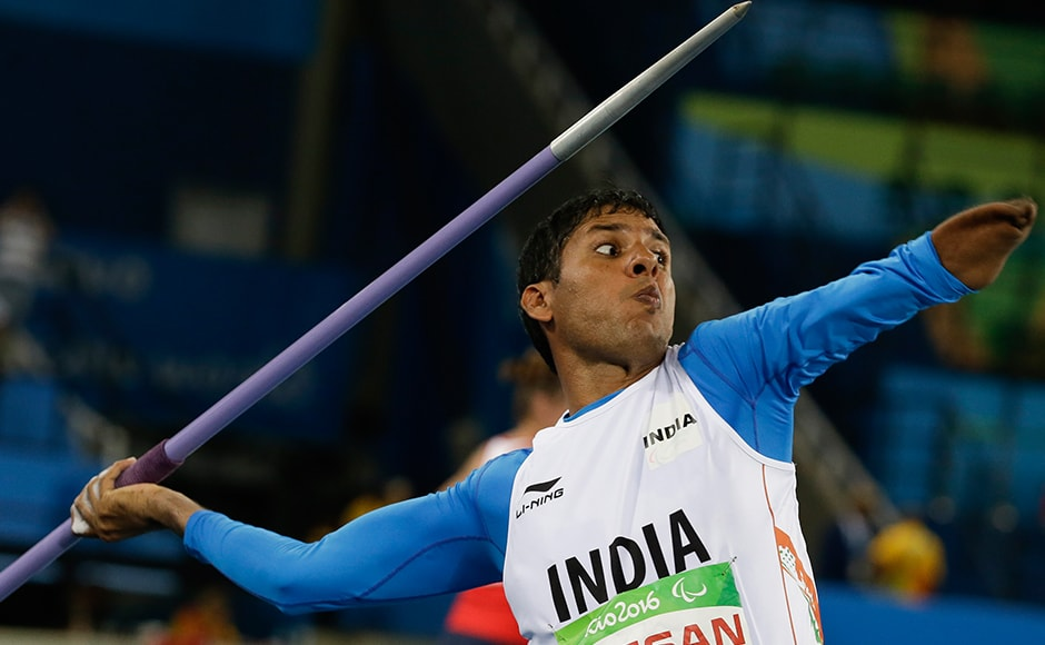 India's Devendra Jhajharia competes in the men's javelin throw F46 final of the Paralympic Games in Rio de Janeiro, Brazil, Tuesday, Sept. 13, 2016. Jhajharia won gold and set a new world record. AP Photo