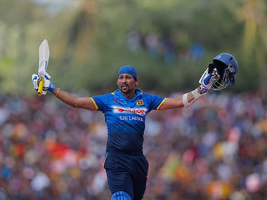 Tillakaratne Dilshan acknowledges the crowd as he leaves the pitch after playing his final ODI. AP