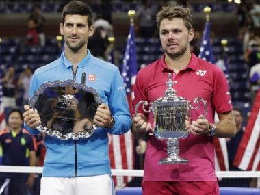Stan Wawrinka and Novak Djokovic after the US Open final. AP