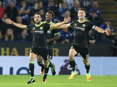 Cesc Fabregas celebrates after scoring Chelsea's  fourth goal. AP
