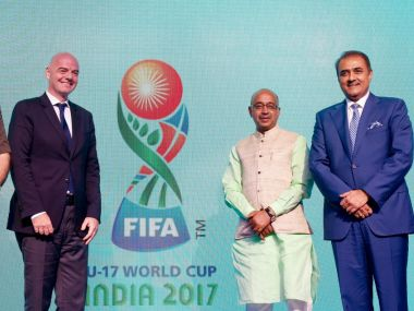 Gianni Infantino, Praful Patel and Vijay Goel at the U-17 Fifa World Cup unveiling. Twitter@IndianFootball