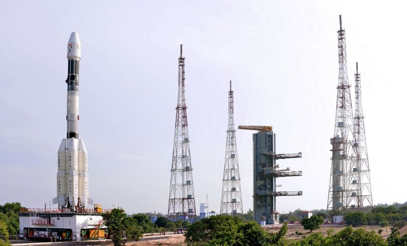 The fully integrated GSLV-F05 carrying INSAT-3DR approaching the second launch pad. Photo credit: Isro