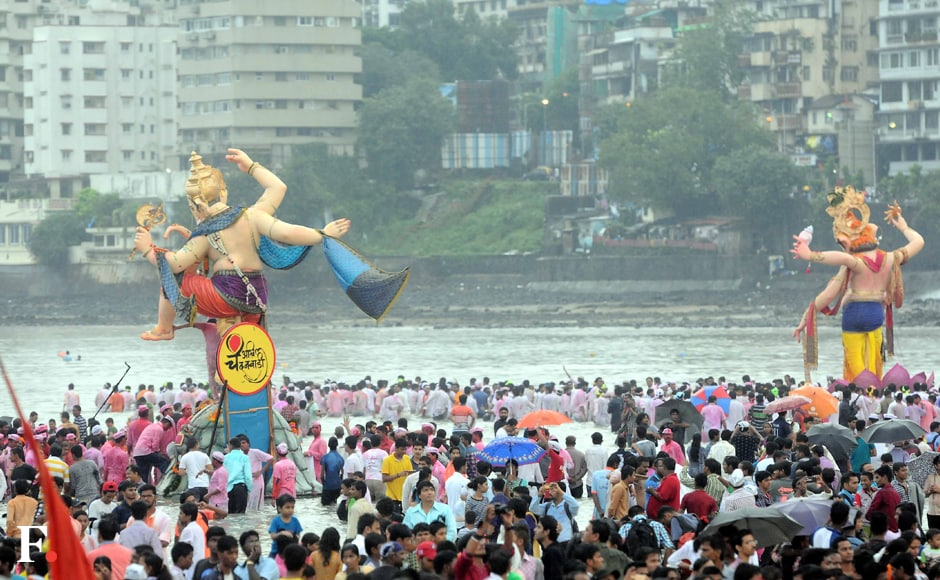 After performing the farewell 'Uttar Pooja', thousands of devotees thronged the city's streets and waterfronts to immerse their idols of Lord Ganesha, sending him back to his abode. Sachin Gokhale/Firstpost