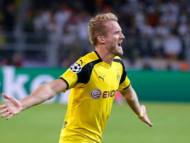 Dortmund's Andre Schuerrle celebrates scoring his side's 2nd goal during the Champions League clash against Real Madrid. AP