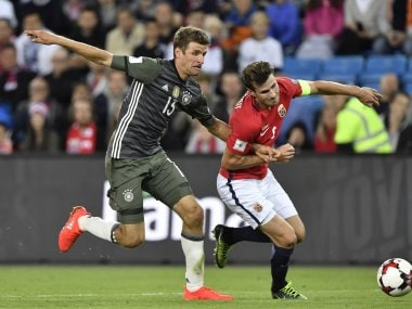 Germany's Thomas Mueller in action in the match against Norway. AFP