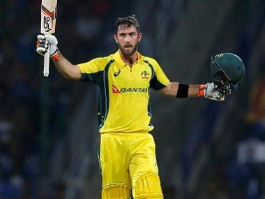 Australia's Glenn Maxwell celebrates scoring a century against Sri Lanka. AP