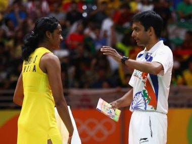 PV Sindhu with coach Pullela Gopichand during the Rio Olympics 2016. Getty Images