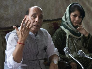 Home Minister Rajnath Singh addresses a joint press conference with Kashmir Mehbooba Mufti. AP