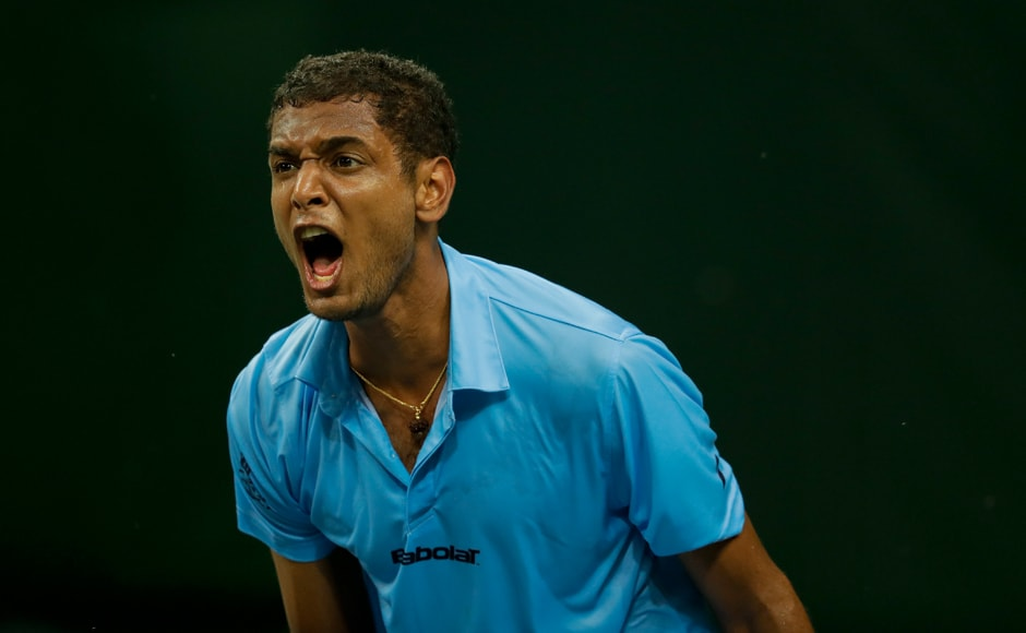 India's Ramkumar Ramanathan reacts during his Davis Cup men's tie against Spain's David Ferrer. AP