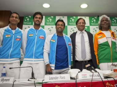 The Indian team ahaed of their Davis Cup tie against Spain. AP